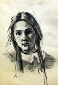Николай Терпсихоров. Портрет дочери. 1946. Бумага, уголь