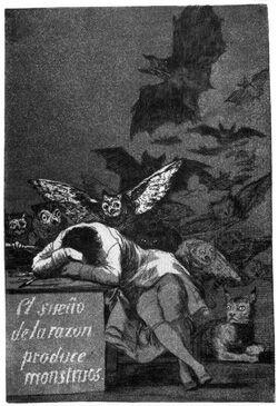 Ф. Гойя и Лусиентес. Сон разума рождает чудовищ. Офорт с акватинтой. Лист из серии Капричос