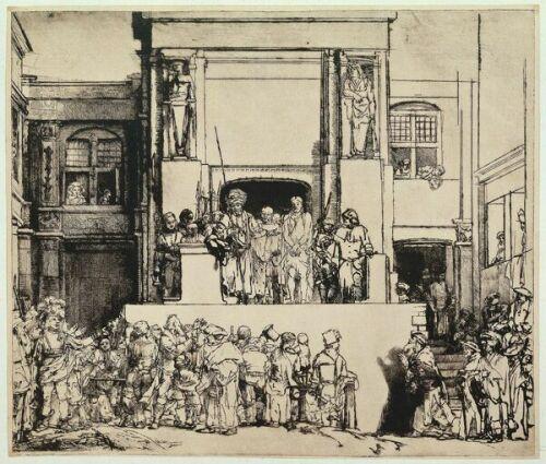 Рембрандт. Христос перед народом. Ок. 1653. Сухая игла. I состояние