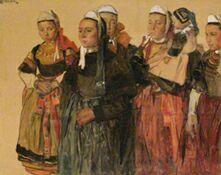 Выставка французского рисунка в ГМИИ им. А. С. Пушкина - Люсьен Симон, Бретонки, 1898 г., акварель, белила