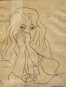Выставка французского рисунка в ГМИИ им. А. С. Пушкина - Анри Матисс, Женщина с распущенными волосами, 1944 г., перо тушью