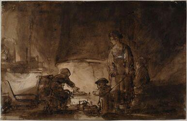 Рембрандт Харменс ван Рейн (школа). Блинщица (т. н. Кухня в доме Рембрандта)