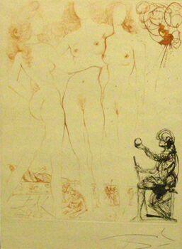 Сальвадор Дали, Суд Париса, из серии Мифология, 1960-1965, гравюра на металле, японская бумага, акварель