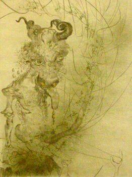Сальвадор Дали, Голова тельца, серия Фауст, 1968, гравюра на металле, японская бумага, акварель